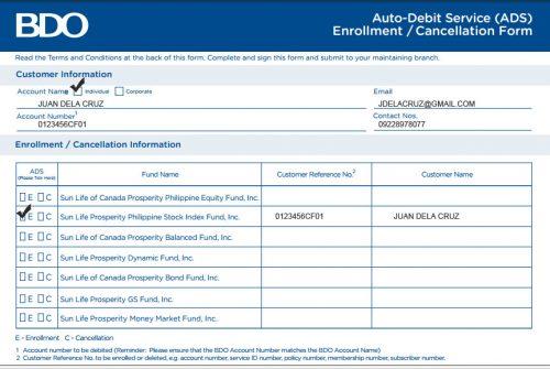 BDO Auto Debit Form